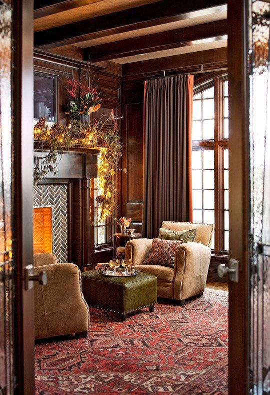 Reciating This One Of My Favorite Decorating Looks Traditional Style With Red Oriental Rug Neutral Or Leather Furniture Fireplace