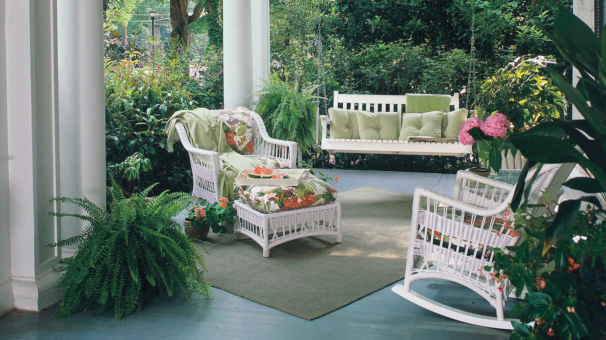 Landscaping ideas for front yard with porch  Kick Back on a Pretty Porch  Porch Decking and Living rooms