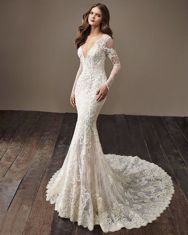Vintage elegance wedding dress with full-length illusion lace sleeves   #weddingdresses #weddingdress