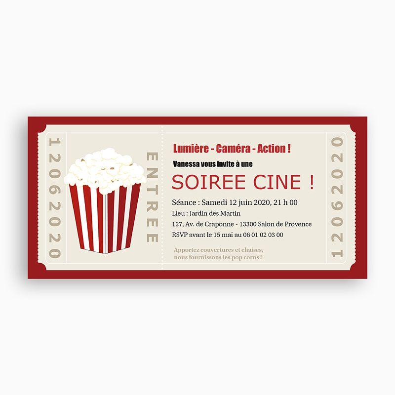 invitation anniversaire soirée cinéma