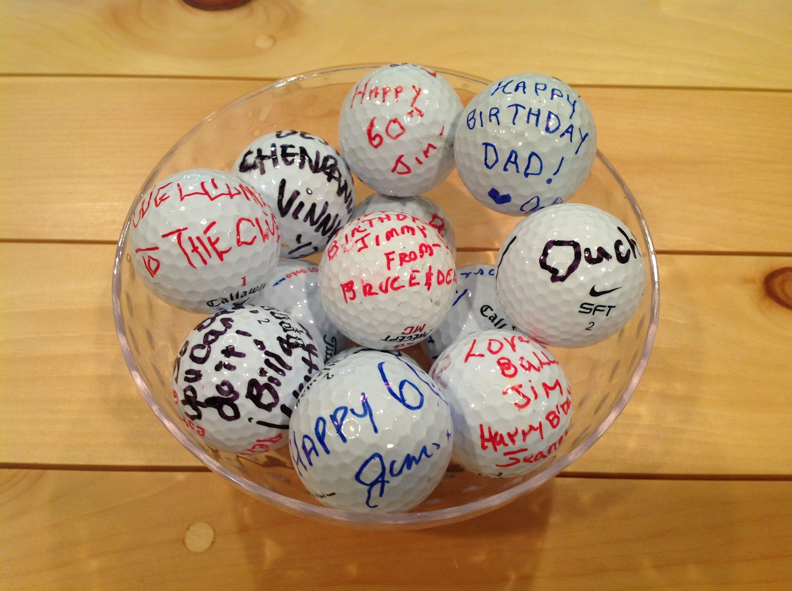 Guests left birthday messages for Jim on golf balls. | Jim ...