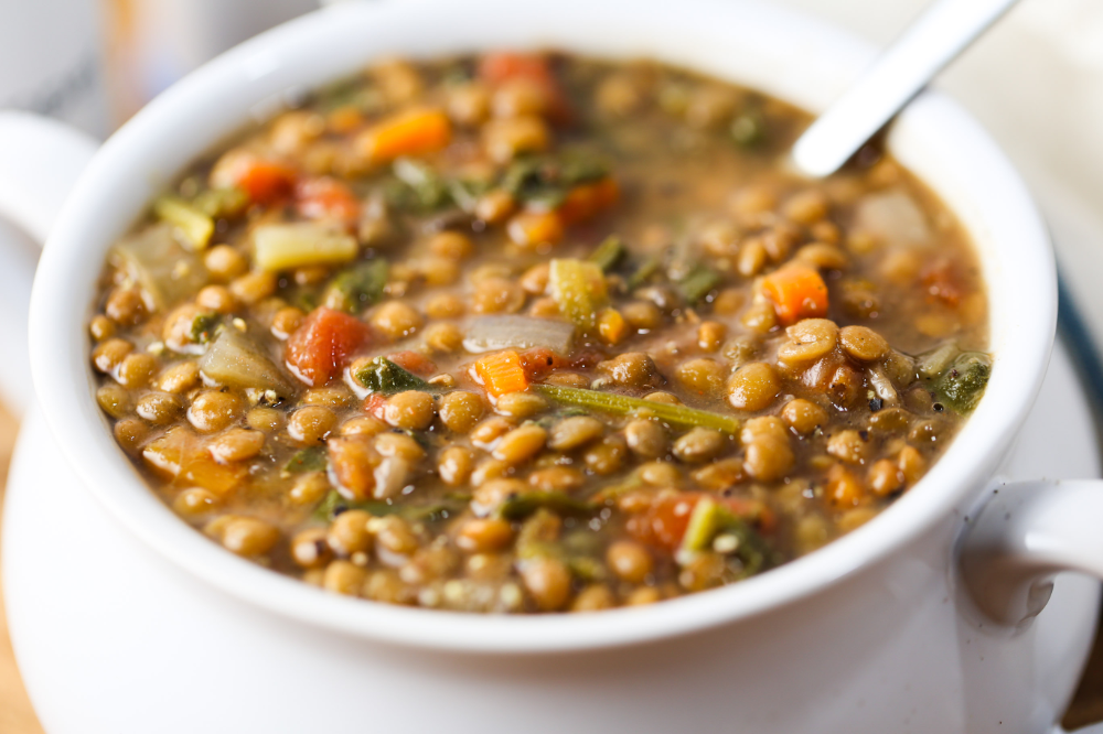 Lentil & Spinach Soup (Slow Cooker Style) #spinachsoup