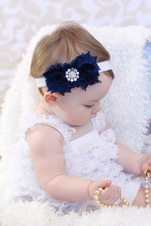 Navy Blue Baby Headband Shabby chic Headband by BabyBloomzBoutique, $7.95