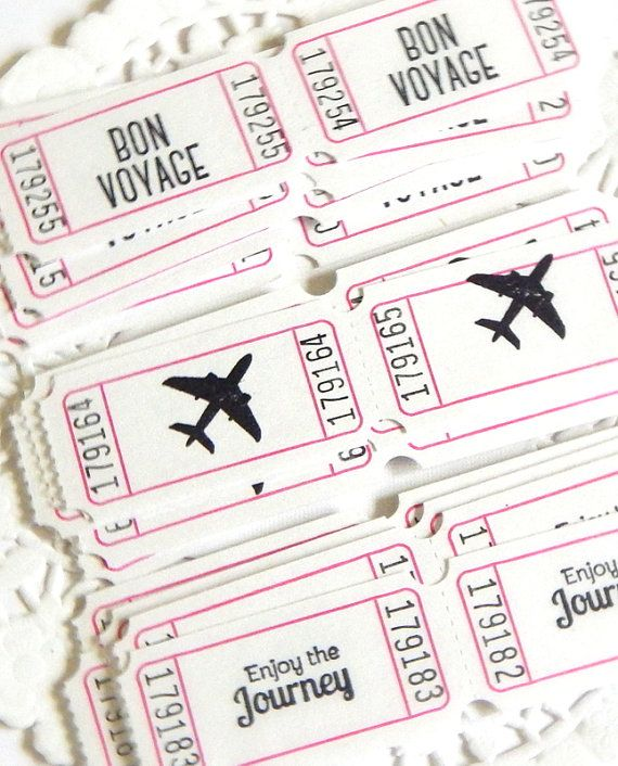 Travel Themed Paper Tickets White Tickets Raffle Tickets ticket