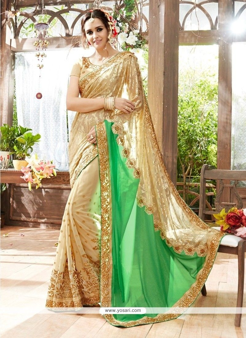 c416c98a6 Affectionate Beige And Green Patch Border Work Georgette Designer  Traditional Sarees Model  YOSAR9227