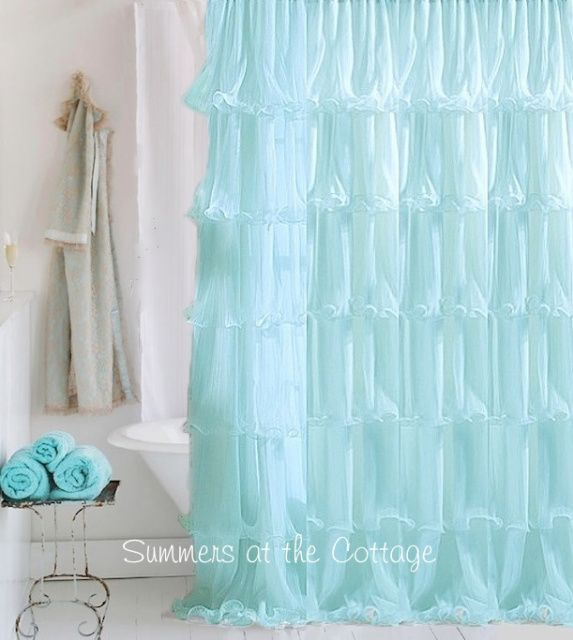 Shabby Chic Beach Cottage Shower Curtains White Ruffles Pink Roses