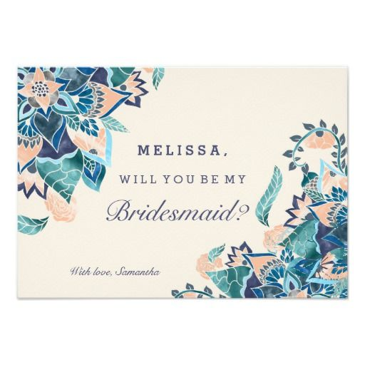 Modern floral coral teal watercolor bridesmaid card coral wedding - program proposal template