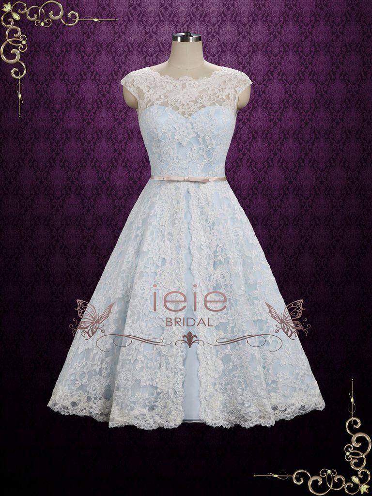 Ice Blue Vintage Lace Tea Length Wedding Dress | Shannon | Tea ...