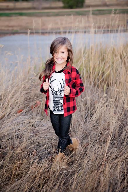 Girls Plaid Flannel Top Black Red Girl Clothing Boys