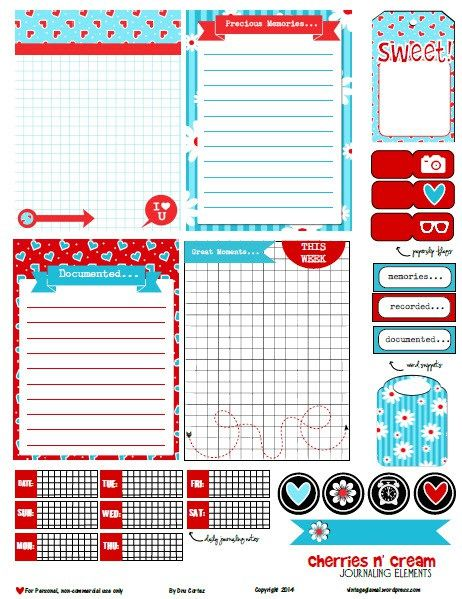 Free Printable Download   Cherries and Cream Journaling Elements