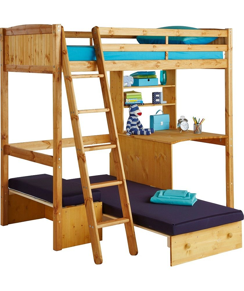 Classic high sleeper with blue sofa bed frame pine for Divan bed frame argos
