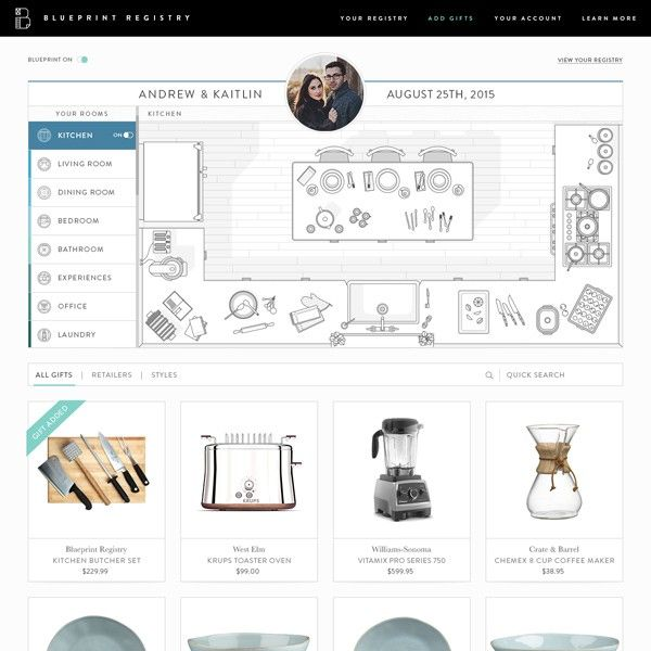 Design your registry with blueprint weddings blueprint registry design your wedding registry around your homes layout malvernweather Images