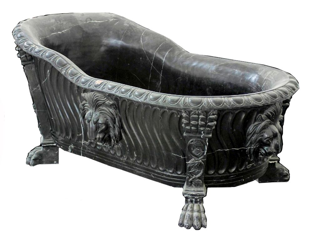 forest black lion clawfoot tub hand carved black marble - Claw Foot Tub