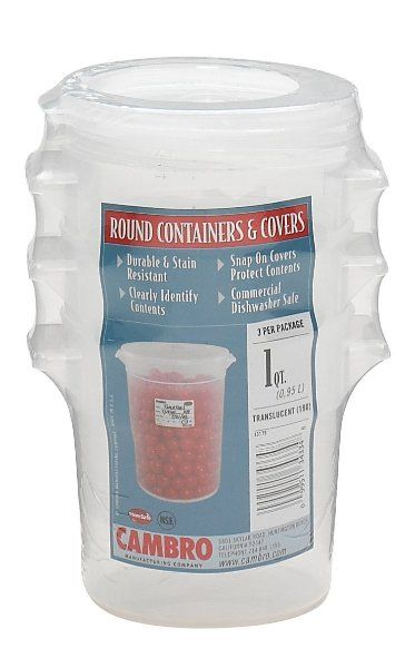 Cambro Rfs1ppsw3190 1 Quart Round Food Storage Container With Lid