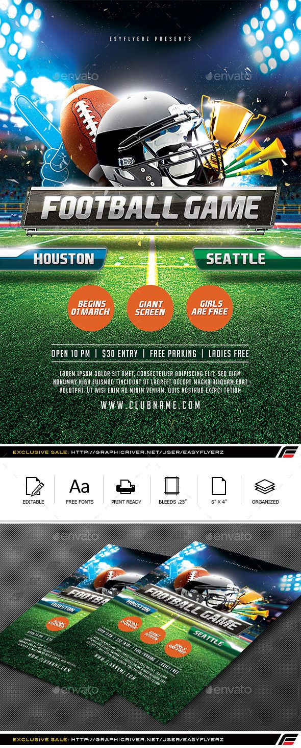Football Game Flyer Template  Flyer Template Change Colour And
