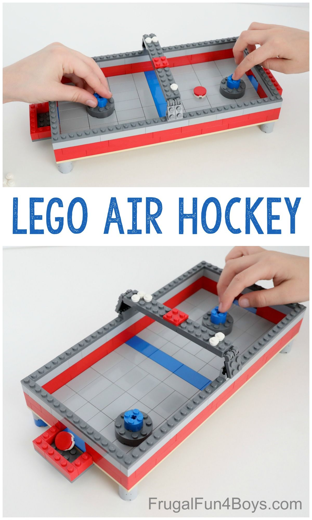Build A Lego Air Hockey Table Frugal Fun For Boys And Girls Air Hockey Lego Challenge Lego For Kids