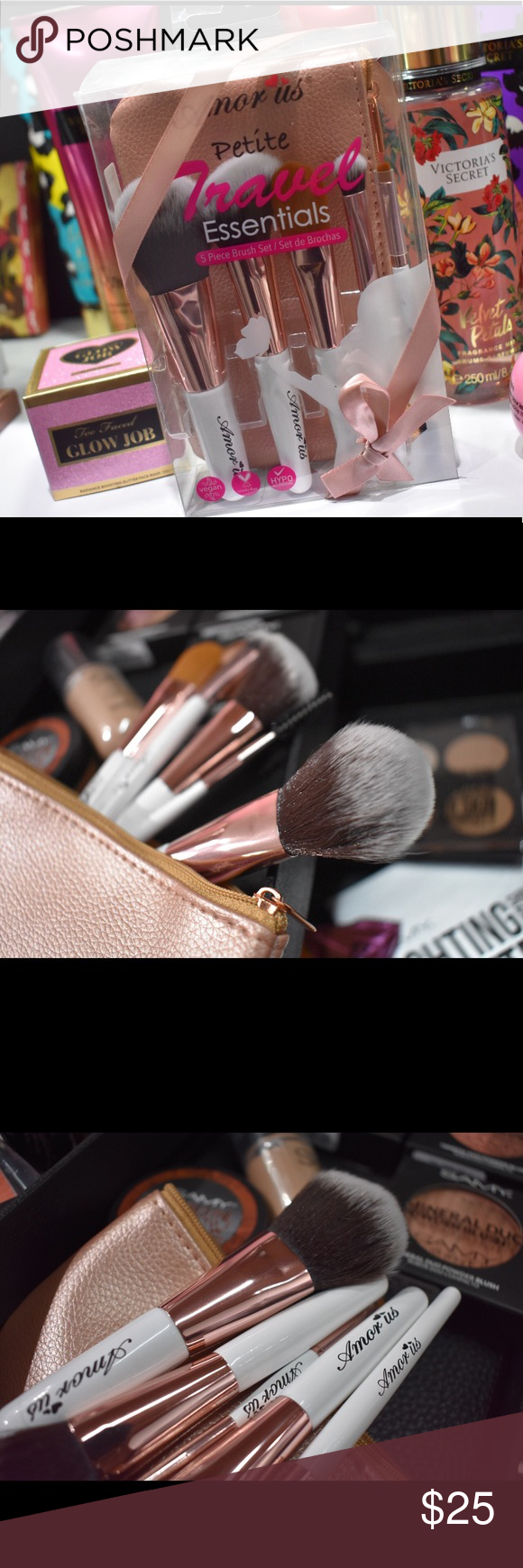 Vegan Travel Essential Brush Set This 5-Piece Set Petite Travel Essentials Makeup Brush Set will give flawless makeup while on the go. It features soft synthetic, cruelty free and vegan brushes accompanied by an adorable and snug rose gold brush pouch perfect for travel. amor us Makeup Brushes & Tools