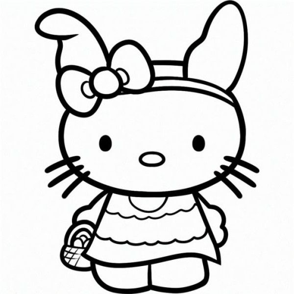 Hello Kitty Happy Easter Egg Coloring Page Pages Free Online And