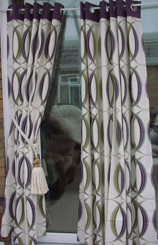 Ready Made Lined Cream Purple Green Pattern Eyelet Curtains