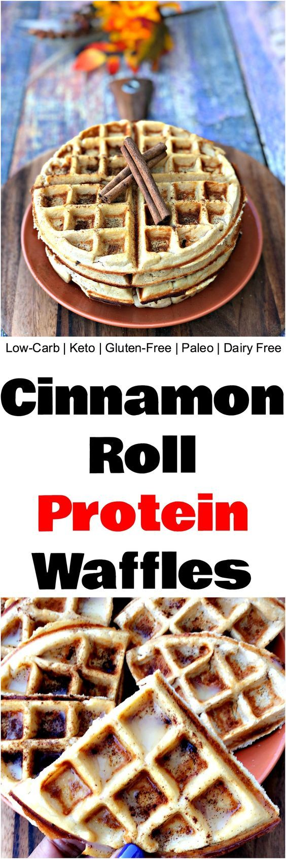 Easy LowCarb GlutenFree Cinnamon Roll Protein Waffles is