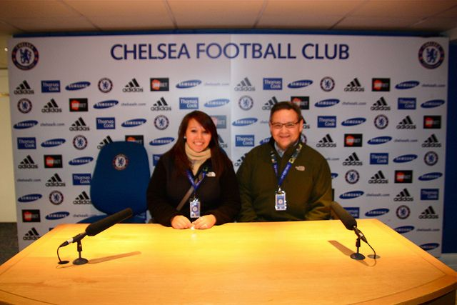 Dad and I sitting at the Chelsea FC Press Conference Interview Table     #Champions