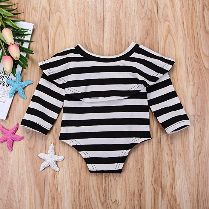 a6a6591aa158 Amazon.com  Mornbaby Infant Baby Girl Romper Twins Long Sleeve Jumpsuit Off- Shoulder Ruffled Newborn Bodysuit Outfit Clothes(Strip