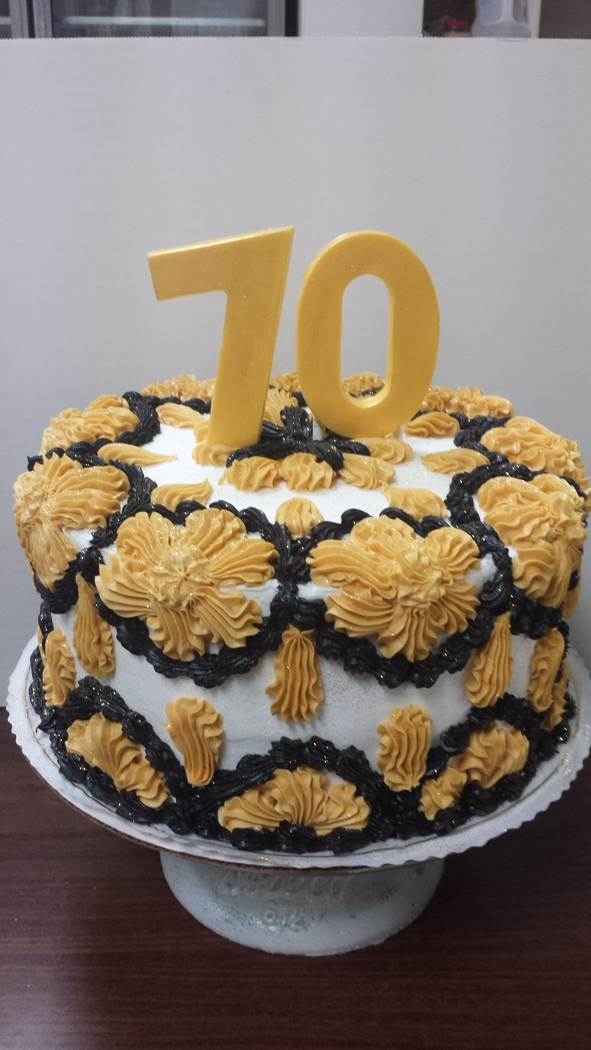 Classic Design 70th Birthday Cake In Gold And Black 70 In Gold