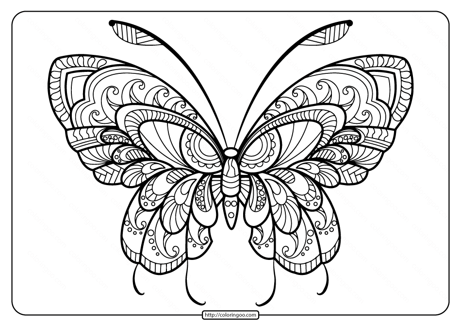 Butterfly For Coloring Pdf Background