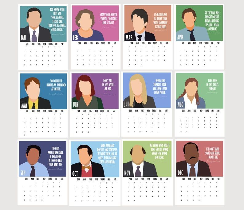 2021 Calendar Of The Office Characters 2021 Planner Stocking Etsy The Office Characters Office Tv The Office Show