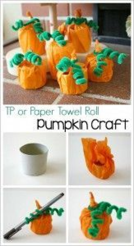 Pumpkin Craft for Kids Using a Toilet Paper Roll or Paper Towel Roll  BuggyandBuddy.com #papertowelcrafts #paper #towel #crafts #preschool #pumpkincraftspreschool