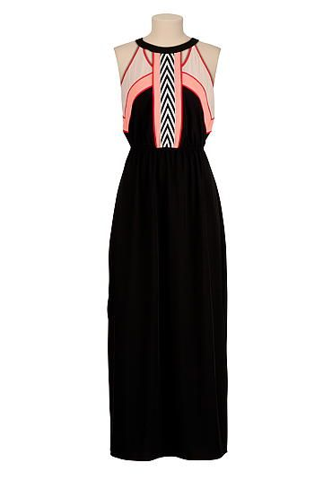 dfbc517ce3e1 embroidered trim colorblock maxi dress (original price