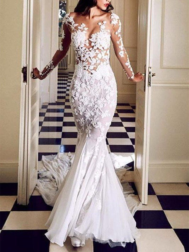 Photo of Floor-Length Appliques V-Neck Trumpet/Mermaid Hall Wedding Dress