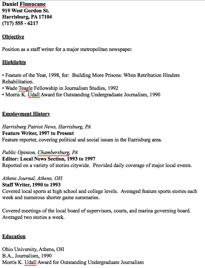 Example Of Journalist Resume  HttpResumesdesignComExampleOf
