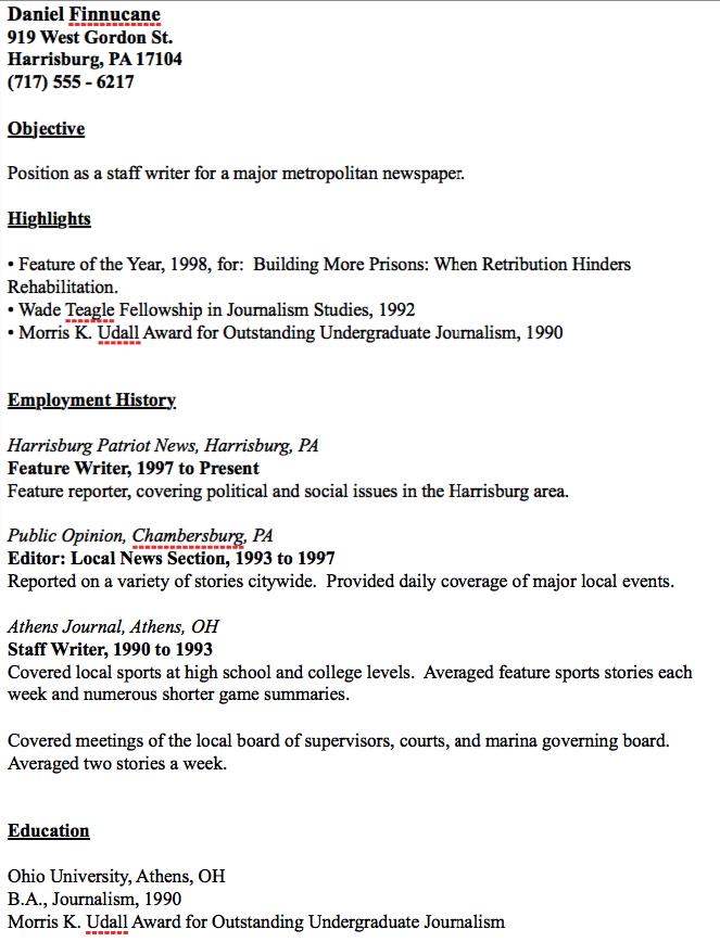 Example Of Journalist Resume Resumesdesign Resume Examples Resume Template Examples Sample Resume Templates
