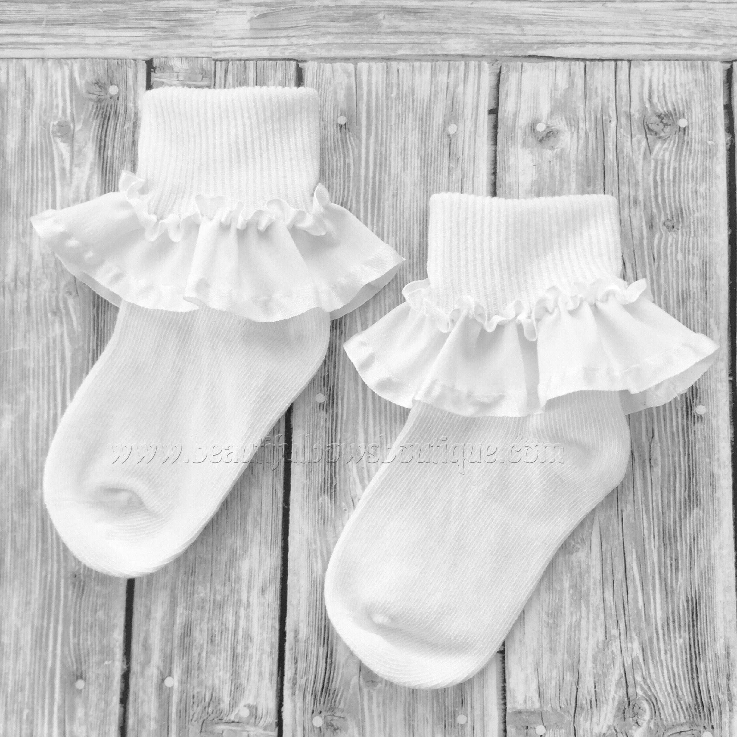 White Baby Socksribbon Ruffle Sockslittle Girl White Ruffle Etsy Baby Girl Socks Baby Socks Baby Headbands Crochet