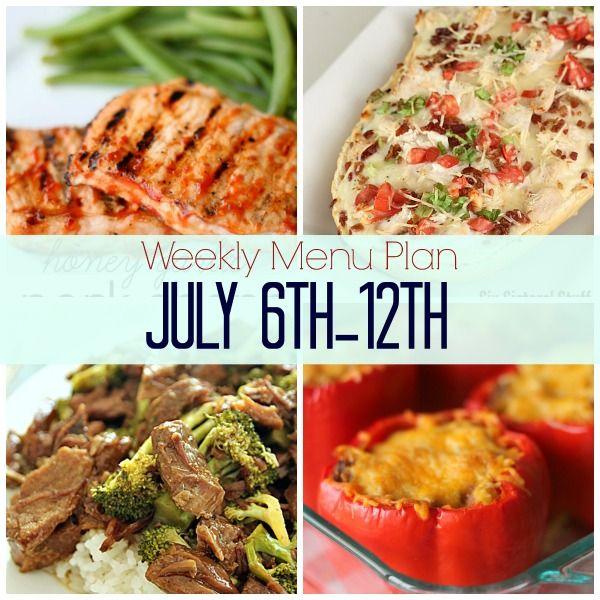 Weekly Menu Plan July 6th-12th