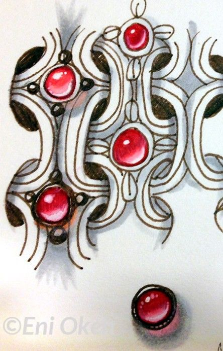 Oh my! look at that red gem! Learn to shade Zentangle® with Eni Oken • enioken.com