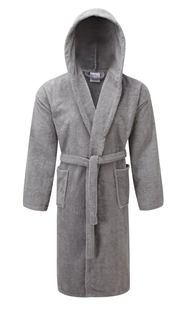 Luxury Hooded Silver Light Grey Terry Towelling Dressing Gown ...