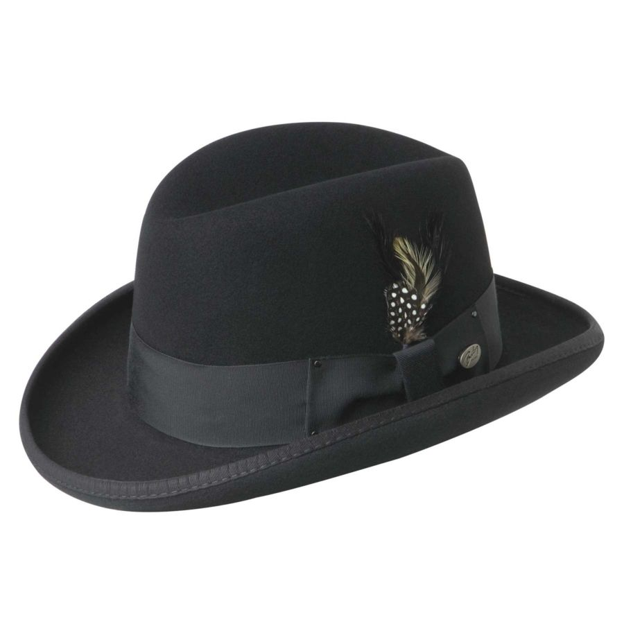 1920s Style Hats for Men - Black Homburg with feather hat  1920sfashion 4da8c43aa987