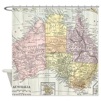 Creative shower curtain vintage map of australia australian creative shower curtain vintage map of australia australian continent down under gumiabroncs Choice Image