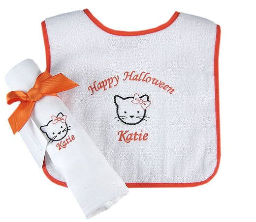 Personalized halloween kitty kat bib burp set babygifts personalized halloween kitty kat bib burp set babygifts negle Images