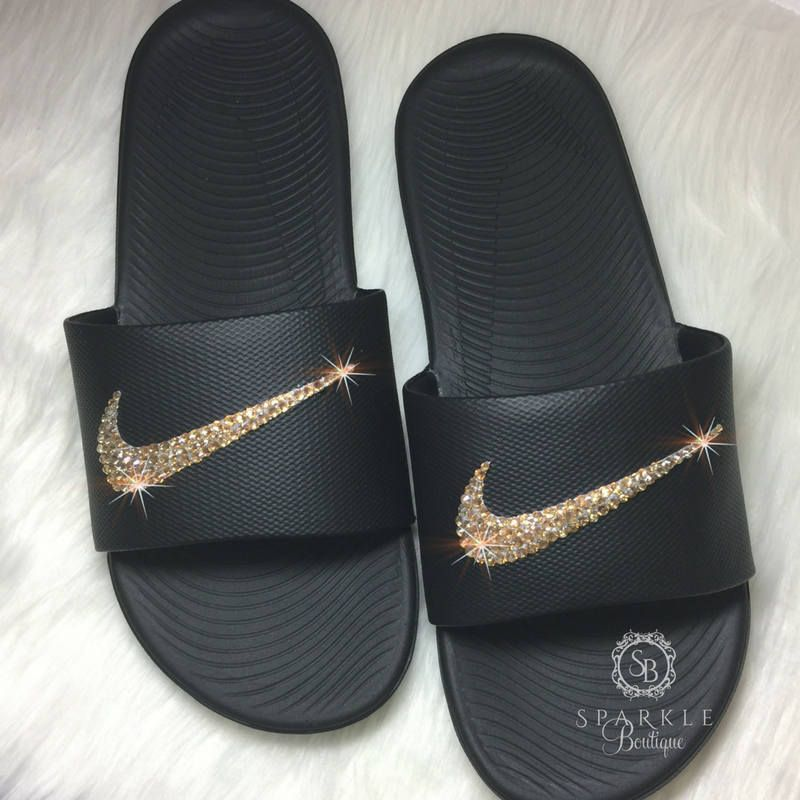 9c26826c1aa1a GOLD Nike Bling Slides - Bling Nike - Bedazzled Nike - Kawa Nike Slides -  Black   Gold - Sparkly Nike Slides - SparkleBoutique2U by SparkleBoutique2U  on ...