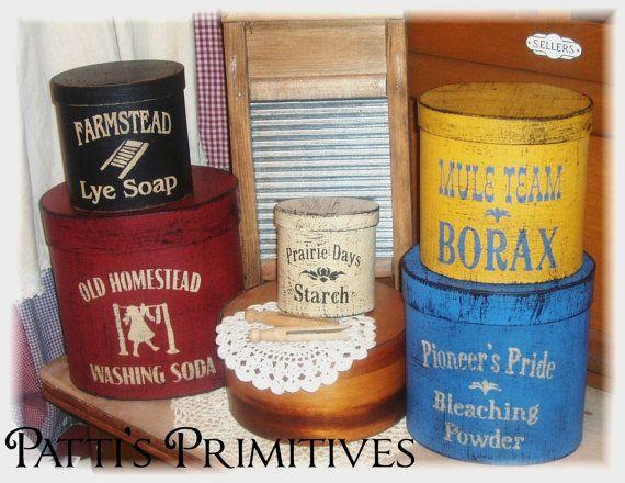 Primitive Laundry shaker style boxes NEW by pattisprimitives, $34.00