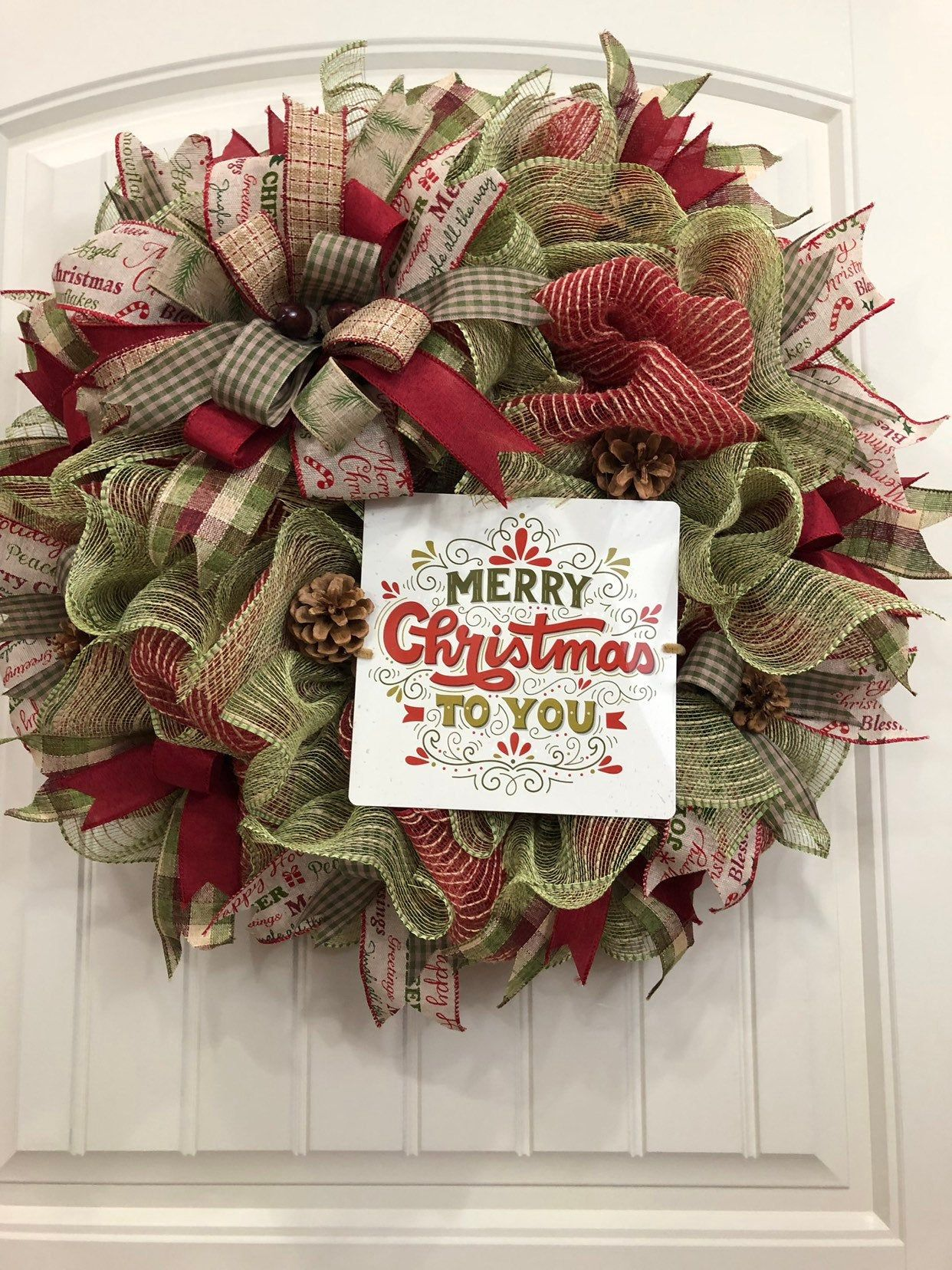 Kats Creations 777 Holiday Front Door Decor Merry Christmas Wreath Red Blue White Xmas Wreath