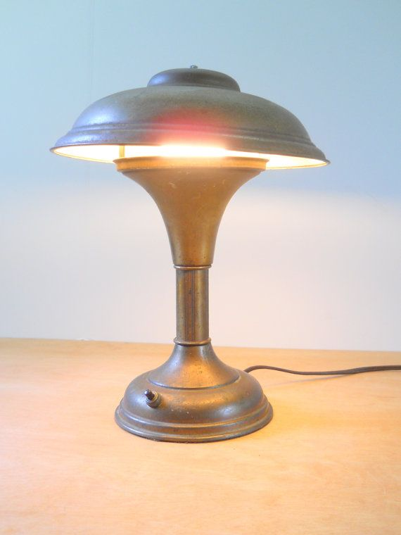 Vintage Metal Desk Lamp Mushroom Top Bankers Lamp Brass Colored Adjustable Helmet Shade Light Vintage Metal Desk Metal Desk Lamps Mushroom Lamp