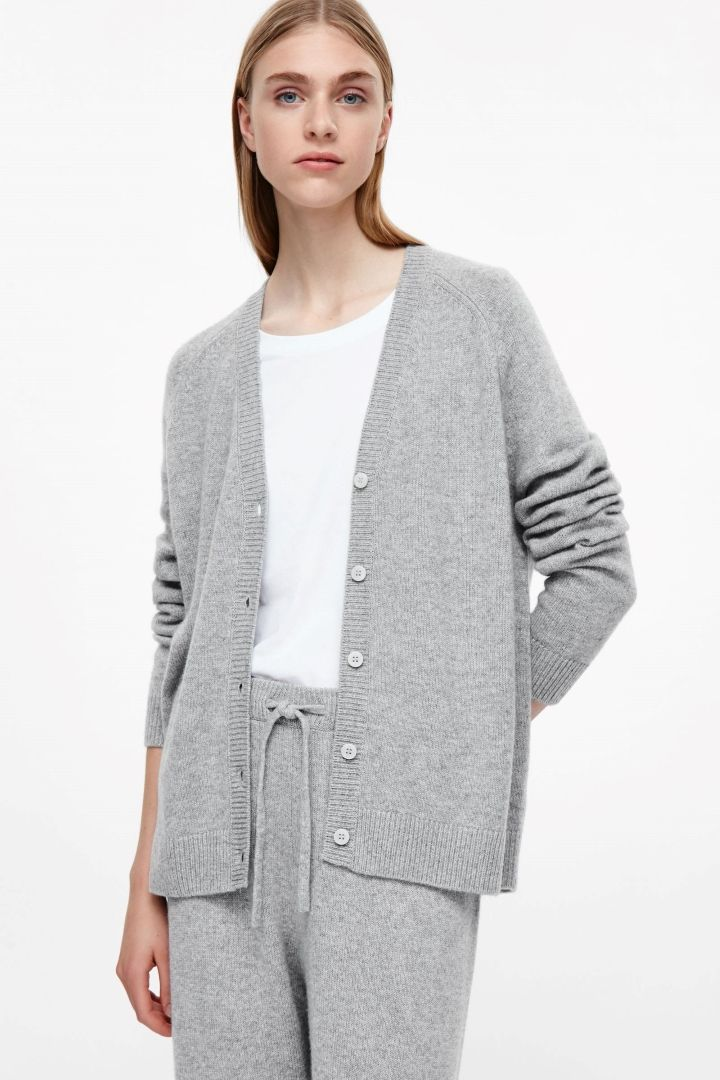 COS image 2 of Oversized cashmere cardigan in Light grey