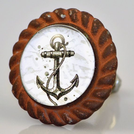 Set of 2  Antique Iron Anchor Drawer Knobs  by CharlestonKnobs