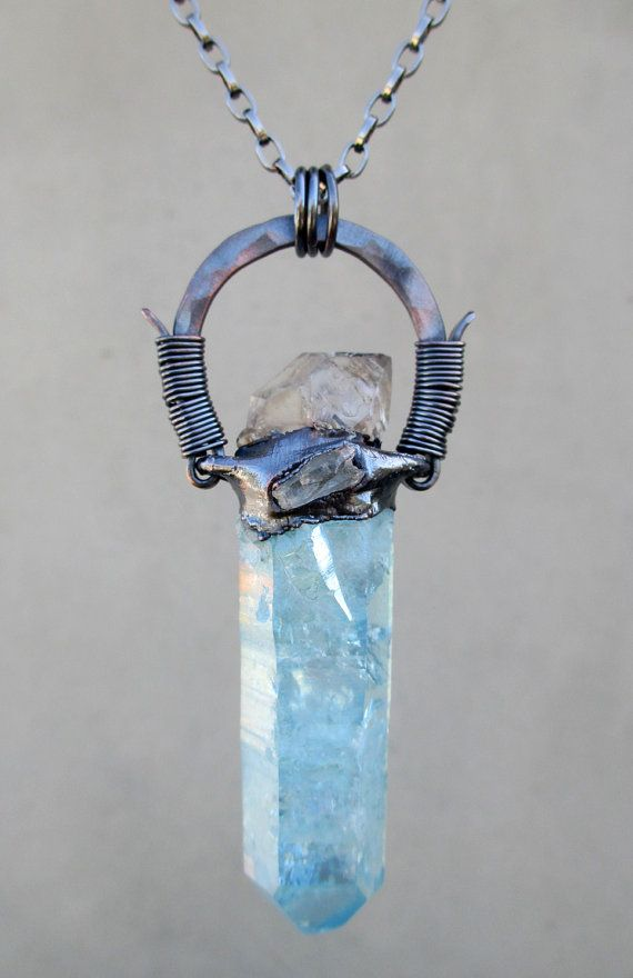 Tribal Amulet with Aqua Aura and Elestial by SilviasCreations