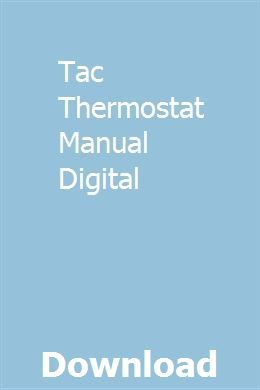 Tac Thermostat Manual