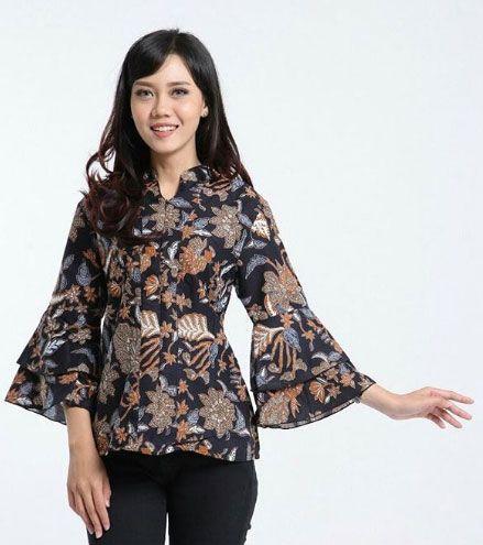 Baju Batik Kerja Wanita Motif Bunga 2018 Batik Pinterest